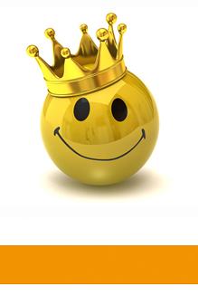Orlando-Office - Kundenstimmen, lächelnder Smiley mit Krone